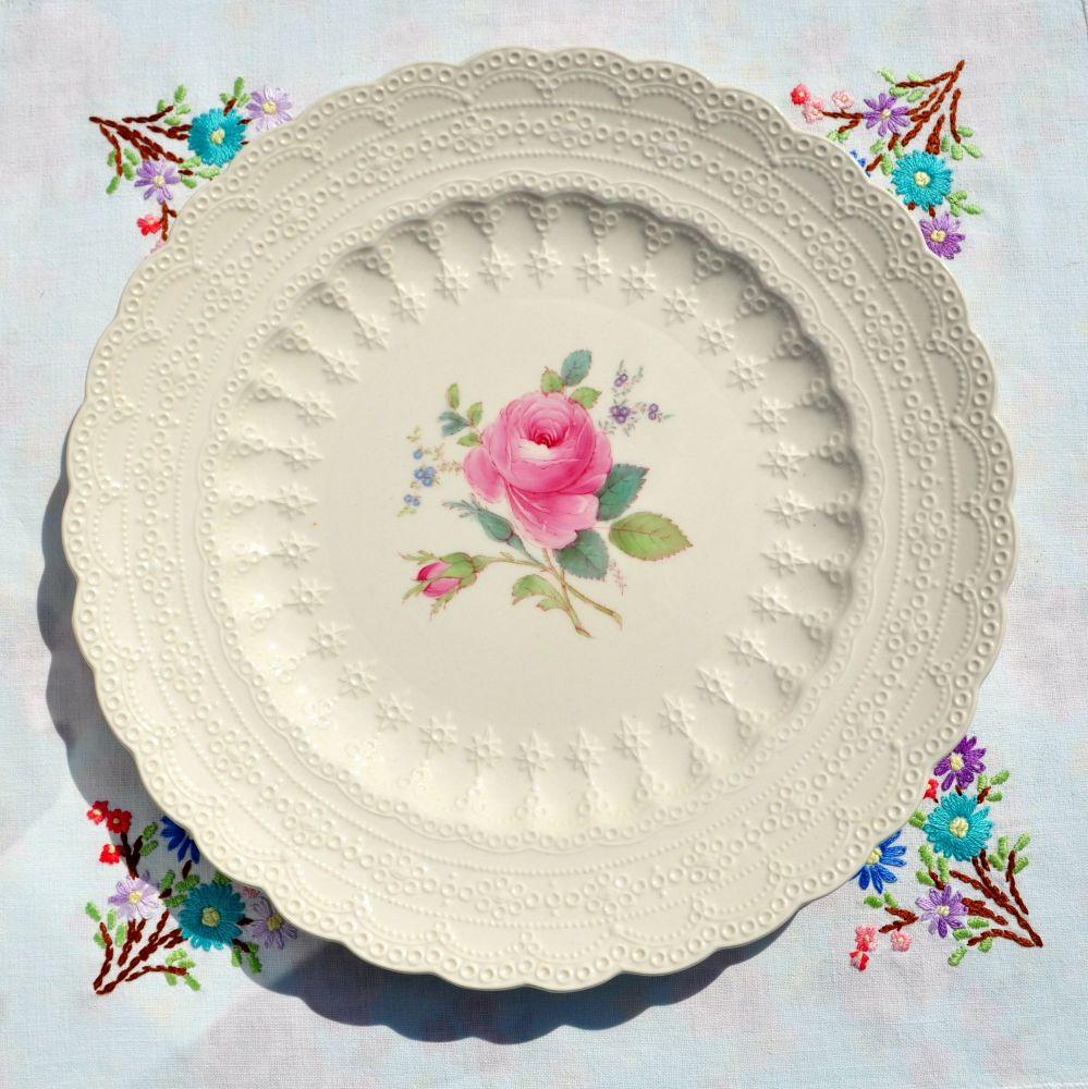 Spode's Jewel Billingsley Rose Embossed Creamware Plate