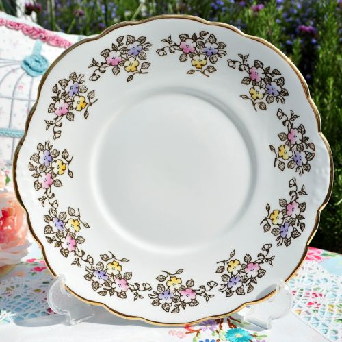 Clare Gold Filigree Floral Cake Plate c.1960s