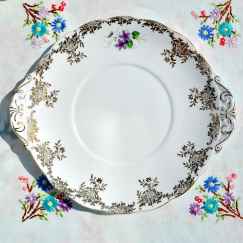 Royal Standard Violets and Gold Filigree Cake Plate
