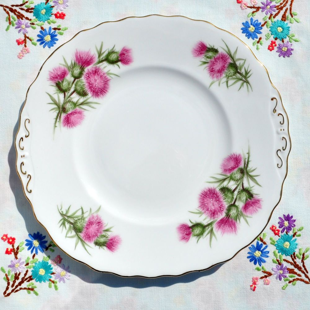 Colclough Pink Thistle Cake Plate c.1950's