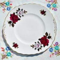 Colclough Amoretta Red and White Roses Cake Plate