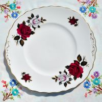 Colclough Red and White Roses Cake Plate