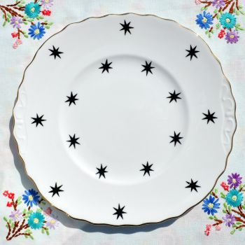 Royal Vale Black Star and Gold Cake Plate c.1960's