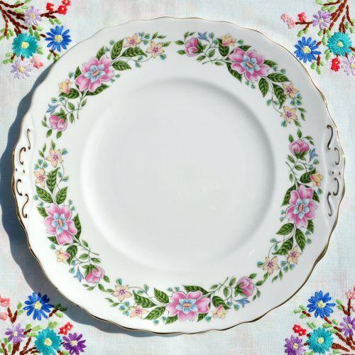 Colclough Floral Border Cake Plate c.1960's