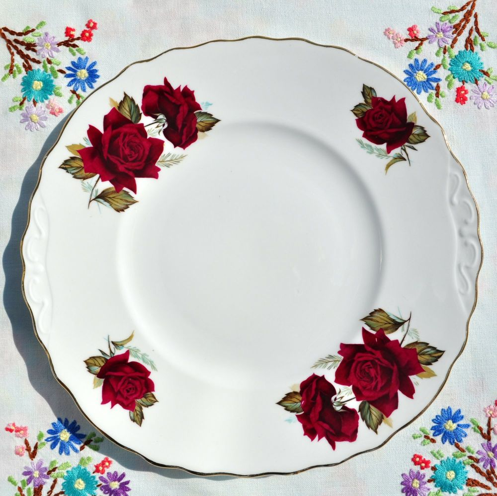 Royal Vale Red Roses Cake Plate c.1960's
