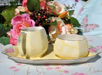 James Kent Yellow Wash Milk Jug and Sugar Bowl with Tray c.1940s