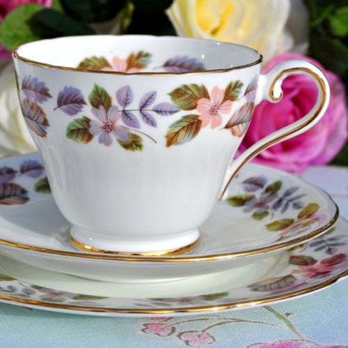 Aynsley April Rose English Fine China Teacup Trio