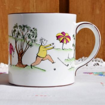 Crown Staffordshire Golfers One Pint Comical Tea Mug c.1970s