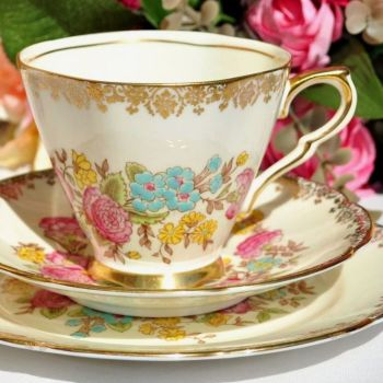 Collingwood Hand Painted Petal Shaped Teacup Trio