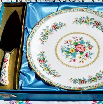 Coalport Ming Rose Gateau Plate and Cake Slice Server