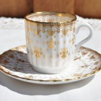 Spode Fleur De Lys Mini Coffee Can and Saucer c.1960s