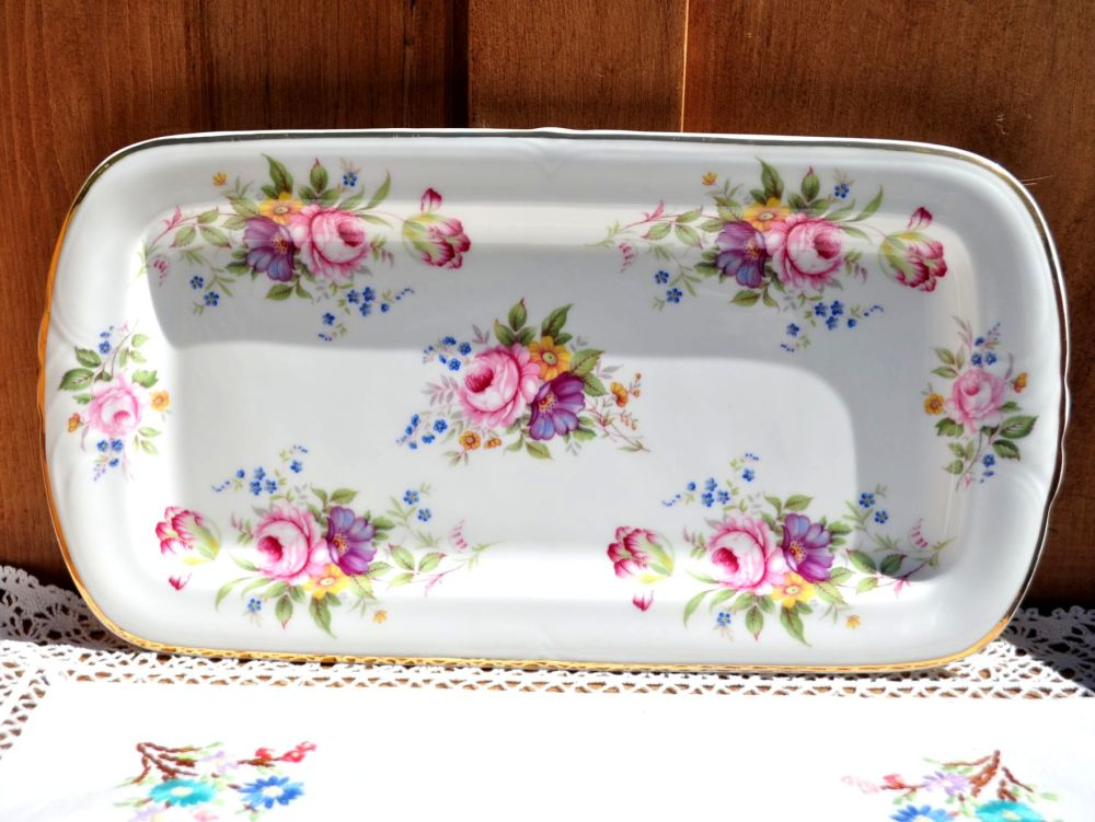 Fenton English Posies Sandwich or Cake Tray