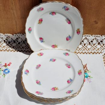 Colclough Scattered Roses Tea Plates Set