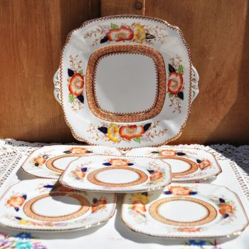 Bell China Imari 6 Piece Plates Set c.1940s