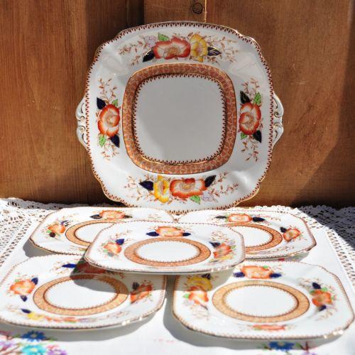 Bell China Imari Style Cake Plates Set