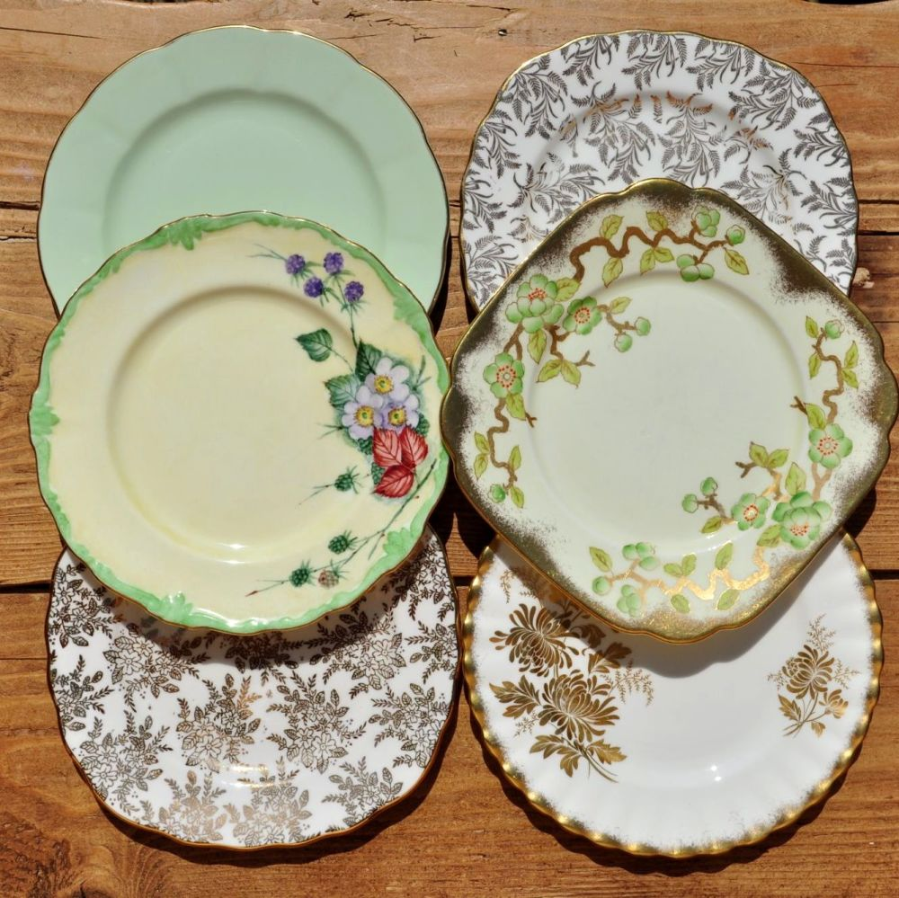 Six Mismatched 16cm Vintage China Plates