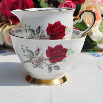 Royal Stafford Roses to Remember Vintage China Milk Jug and Sugar Bowl c.1950's