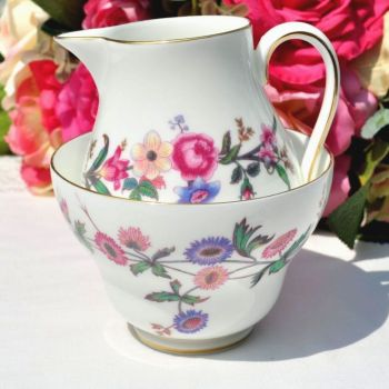 Wedgwood Devon Sprays Vintage China Milk Jug and Sugar Bowl