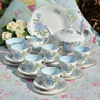 Paragon Blue Moon Vintage Fine Bone China Tea Set with Large Teapot c.1950s
