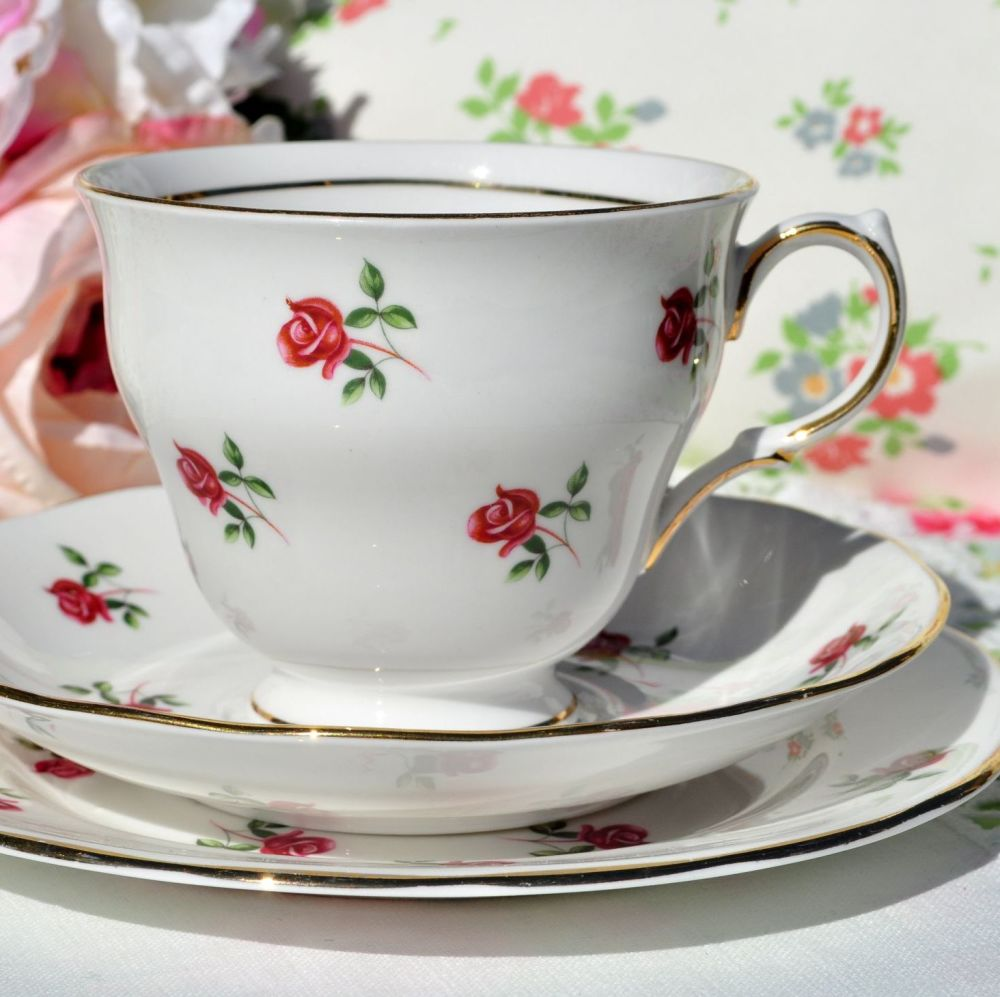Beautiful pink roses pattern vintage tea trio