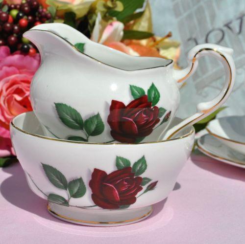 Paragon Red Rose English Vintage China Milk Jug and Sugar Bowl c.1960s
