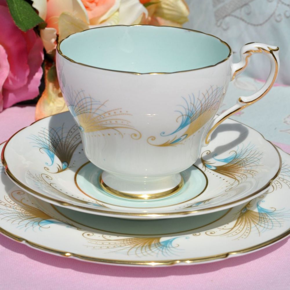 Paragon Blue and Gold Feather Pattern Vintage China Teacup Trio c.1957+