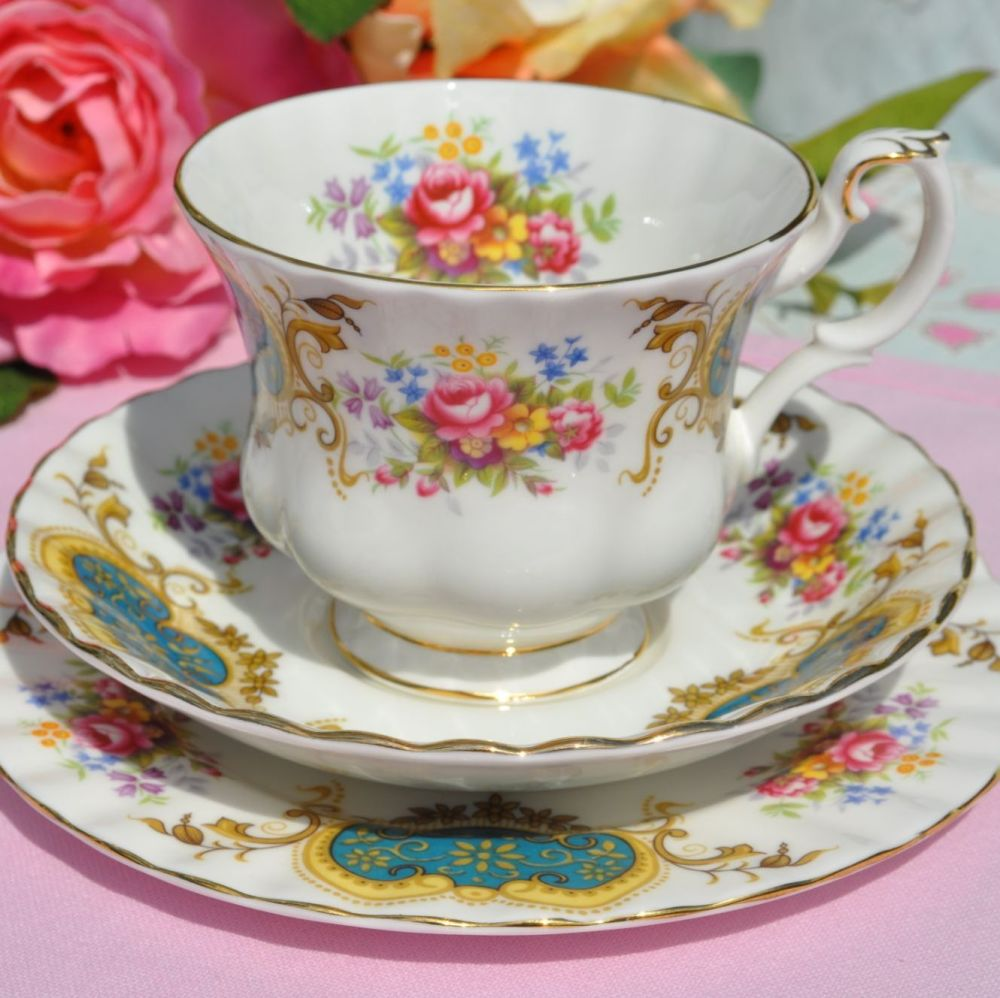 Royal Albert Berkeley Vintage China Tea Cup Trio c.1970s