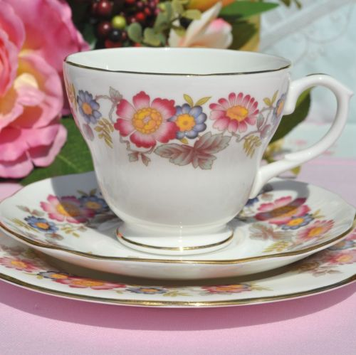 Duchess pretty floral vintage tea trio