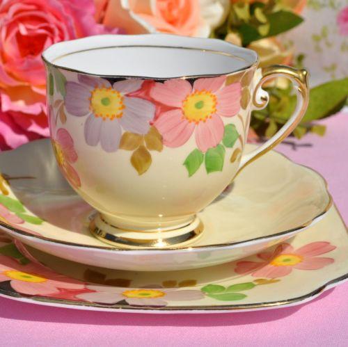 Roslyn Cream Floral Vintage Tea Trio