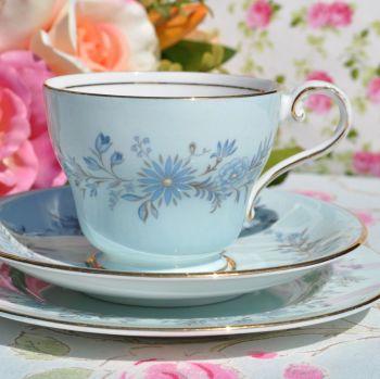 Aynsley Pale Blue Floral Vintage Teacup, Saucer, Tea Plate