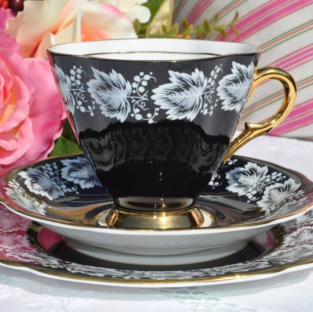 Windsor Black, Gold and White Vintage Tea Trio