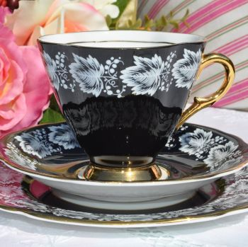 Windsor Black and Gold Vintage Tea Trio with White Leaf Pattern