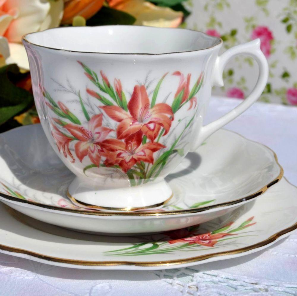 Royal Albert Friendship Series Gladiolus Tea Cup Trio