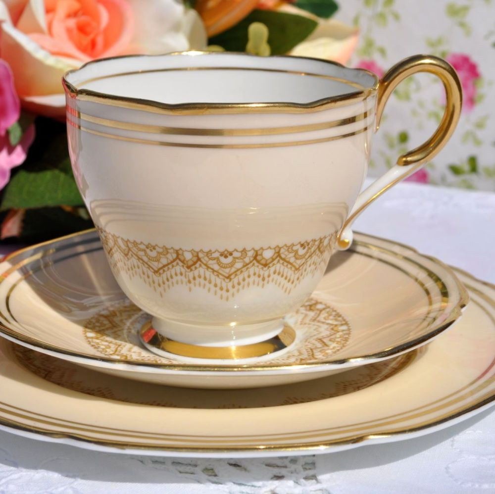Paragon 1930s Cream and Gold Fine Bone China Teacup Trio