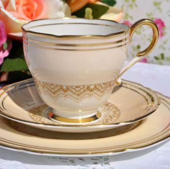 Paragon 1930s Cream and Gold Fine Bone China Teacup Trio