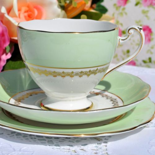 Roslyn China Vintage Green and Gold Tea Cup Trio