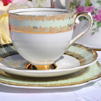 Stanley China Green and Gold Vintage Teacup, Saucer, Tea Plate c.1953