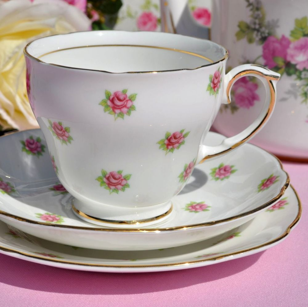 Duchess Melody Ditsy Pink Roses Pattern Vintage Bone China Teacup Trio