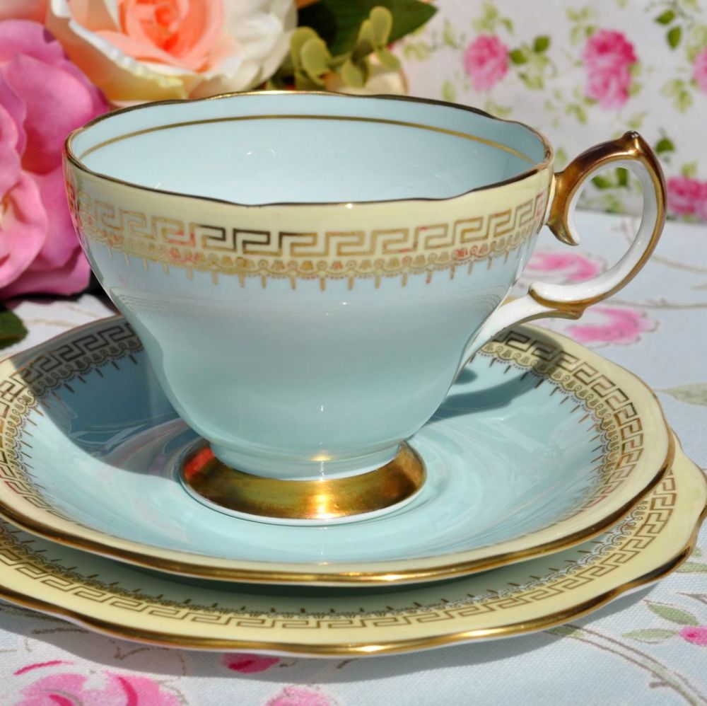 Queen Anne Duck Egg Blue Vintage Tea Trio