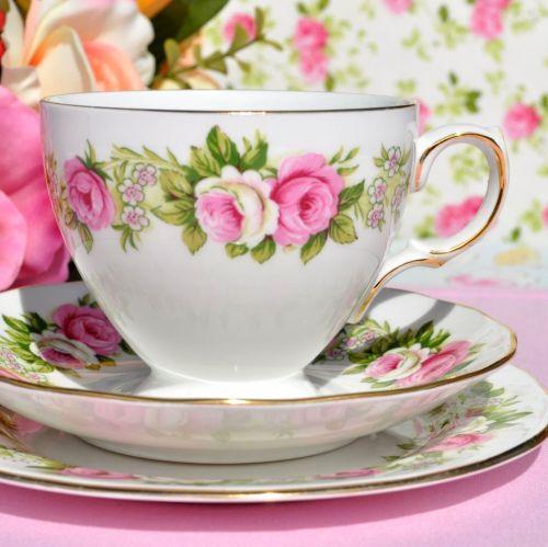 Colclough Enchantment Pattern Pink Roses Teacup Trio