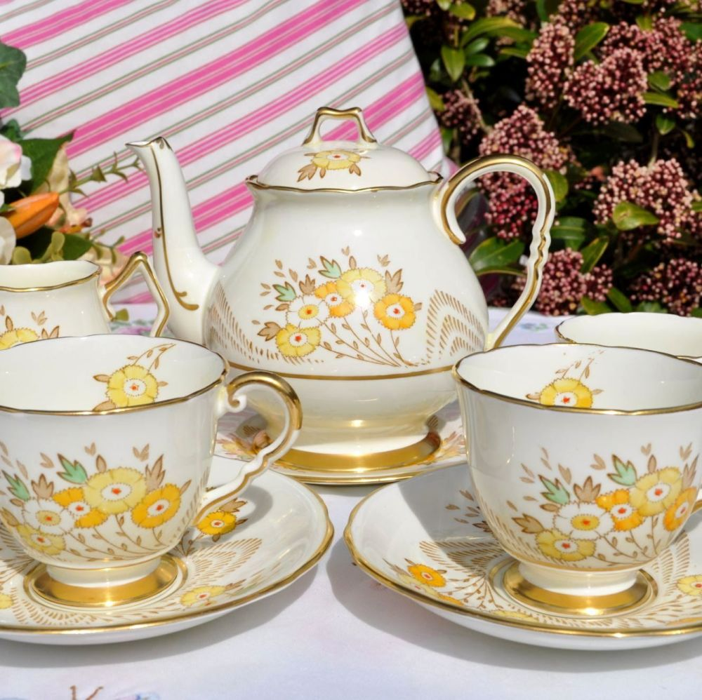 Beautiful Hand Painted Yellow Tea Set for Two by Royal Stafford