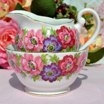 Royal Standard Carmen Milk Jug and Sugar Bowl Pink and Blue Anemones c.1950s