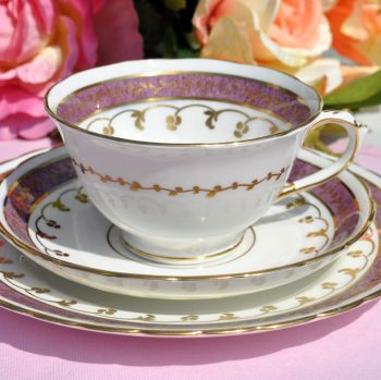 Antique Tuscan Amethyst Lustre Teacup Trio c.1907+