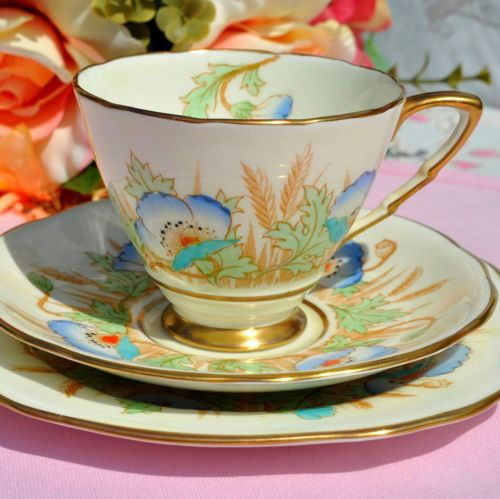 Royal Stafford Hand Painted Blue Poppy Fine Bone China Teacup Trio c.1952