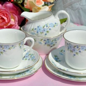 Crown Staffordshire Blue Forget Me Not Pattern Vintage Tea For Two Tea Set c.1950s
