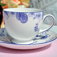 Wedgwood Blue Plum Bicentenary Celebration Bone China Teacup and Saucer c.1995
