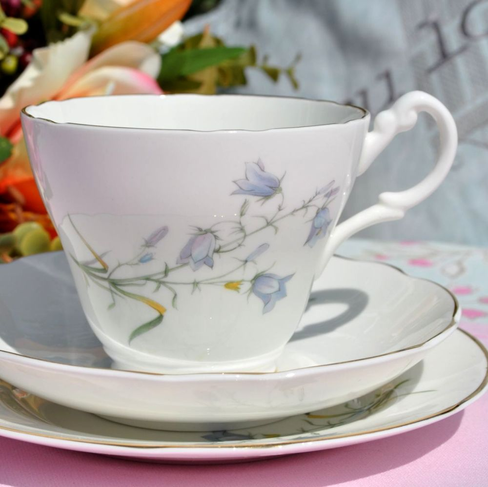 Royal Stuart Harebell Pretty Blue Floral with Gold Gilding Teacup Trio