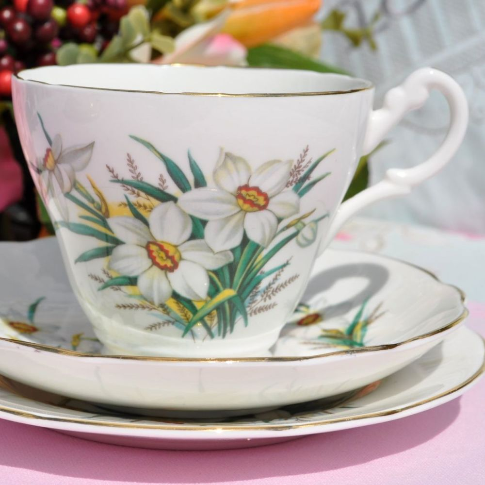 Royal Stuart Narcissus Teacup Trio c.1950s