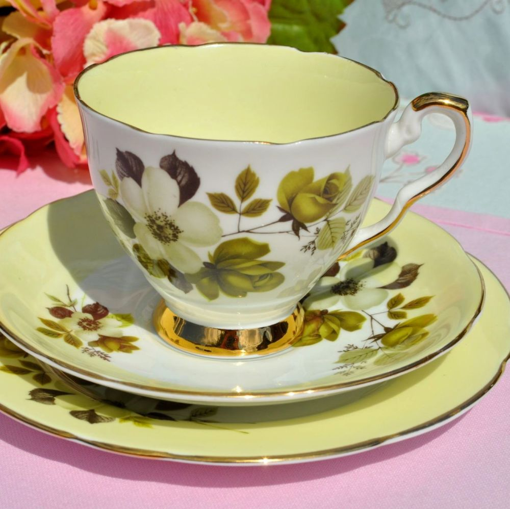 Royal Stafford Cream Tea Floral Teacup Trio c.1950s