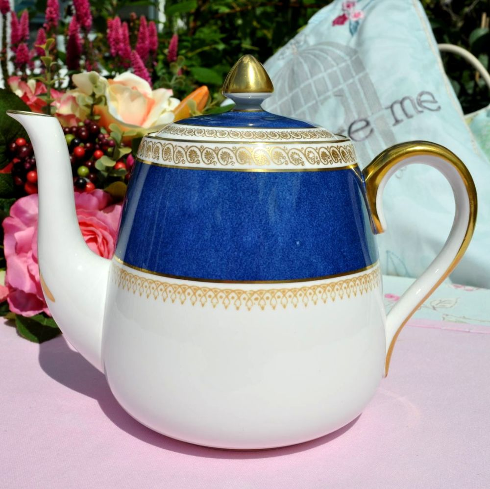 Crown Staffordshire Blue and Gold Vintage Teapot